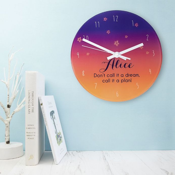 The desert at dusk glass wall clock